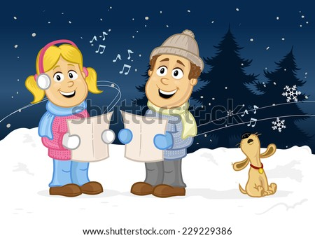 Happy children - kids, boy and girl singing Christmas carol with cute puppy outside in the winter vector cartoon illustration - stock vector