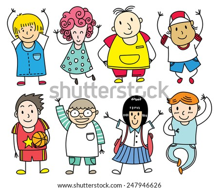 happy children lined up - stock vector