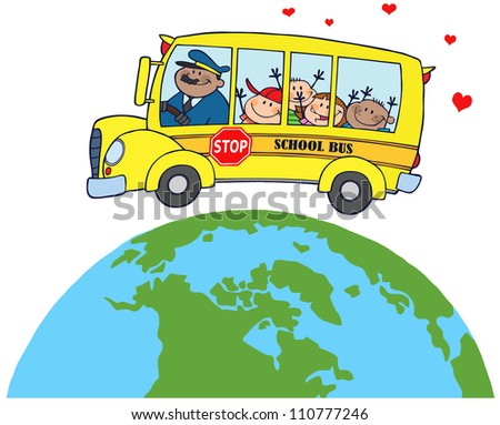 Happy Children On School Bus Around Earth - stock vector