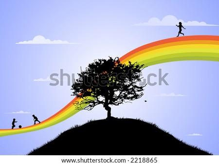 happy children playing on the rainbow - stock vector