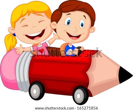 Happy children riding pencil car - stock vector