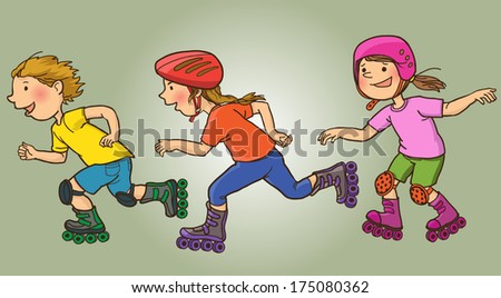 Happy Children Rollerskating . Summer activities. SPORT. Children illustration for School books, magazines, advertising and more. Separate Objects. VECTOR. - stock vector