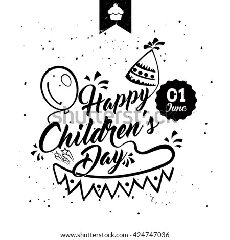 Happy children's day black & white card. Typographic background - stock vector