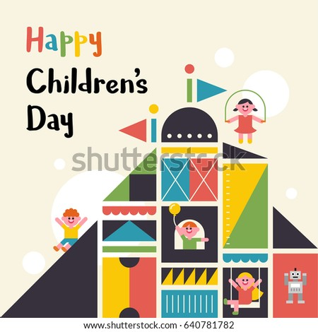 happy children's day vector illustration flat design