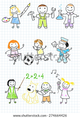 Happy children's in work wear. Sketch on notebook page - stock vector