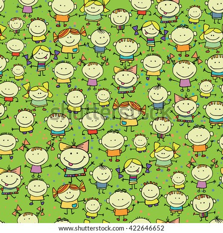 Happy children seamless background - stock vector