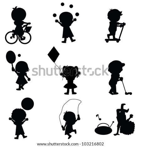 happy children silhouettes background for activity and learning