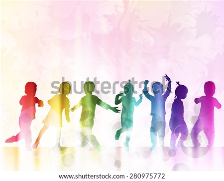 Happy children silhouettes with background - stock vector