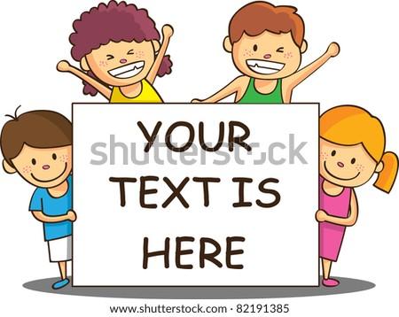 happy children with empty banner - stock vector