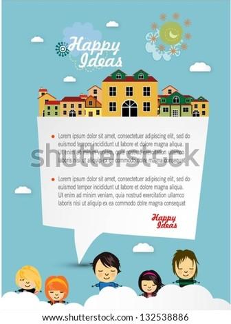 Happy children with speech bubble vector background - stock vector
