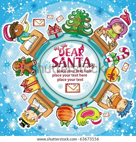 Happy children writing letters to Santa Claus. Christmas greeting card - stock vector