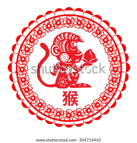 Happy Chinese new year 2016 ,Chinese paper cut arts which mean monkey year chinese zodiac