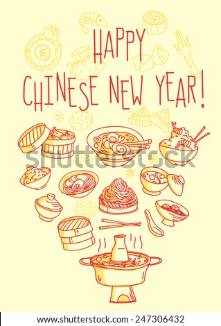 Happy Chinese New Year food themed greeting card - stock vector