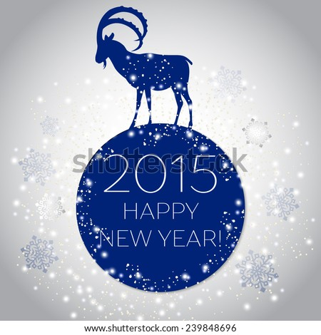 Happy chinese new year of the Goat 2015 greeting card. New year vector card - stock vector