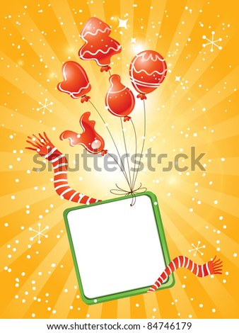 happy christmas background, blank sign with red balloons - stock vector