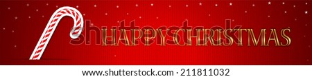 Happy Christmas Banner with Candy Cane. Vector / EPS 10 - stock vector