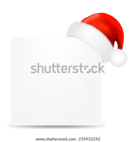 Happy Christmas Card With Santa Hat With Gradient Mesh, Vector Illustration - stock vector