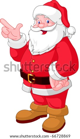 Happy Christmas Santa Claus pointing - stock vector