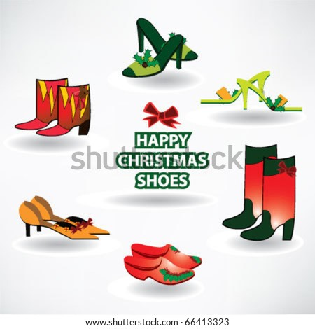 Happy christmas shoes postcard - stock vector