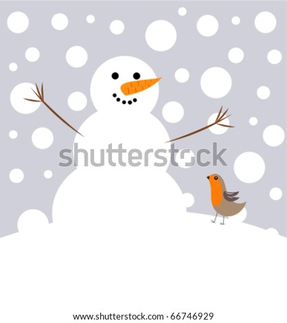 Happy Christmas snowman and robin bird - stock vector