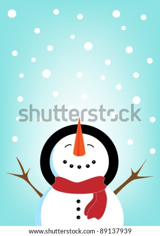 Happy Christmas snowman and snowflakes - stock vector