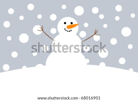 Happy Christmas snowman vector illustration - stock vector