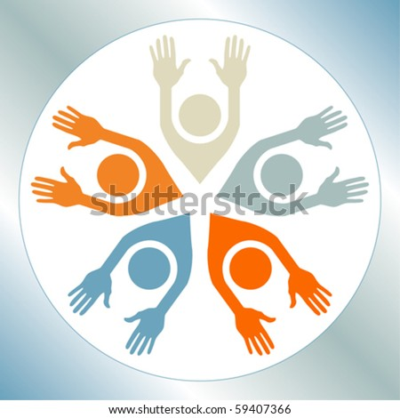 Happy circle of people. - stock vector