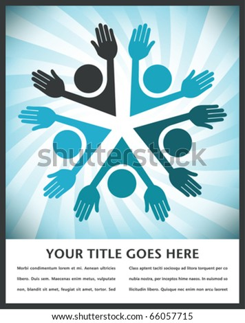Happy circle of people with copy space. - stock vector