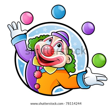 Happy clown juggling with balls in many colors - stock vector