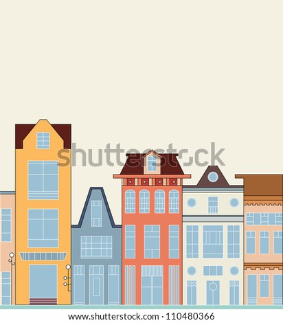 Happy colorful doodle children town with place for your text vector eps 8