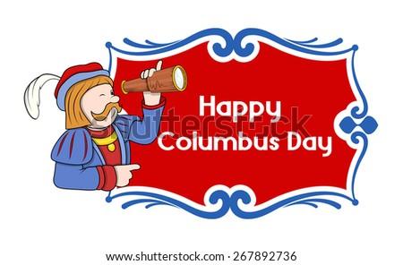 Happy Columbus Day Cartoon Banner - stock vector
