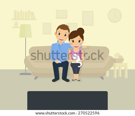 Happy couple is watching tv at home - stock vector