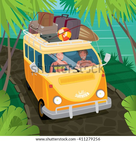 Happy couple riding in a fun yellow van through the jungle along the ocean. Suitcases and surfboard on the roof of the car - Hippie or travel concept. Vector illustration - stock vector