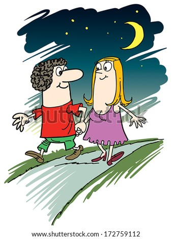 Happy couple taking a walk in the park. - stock vector
