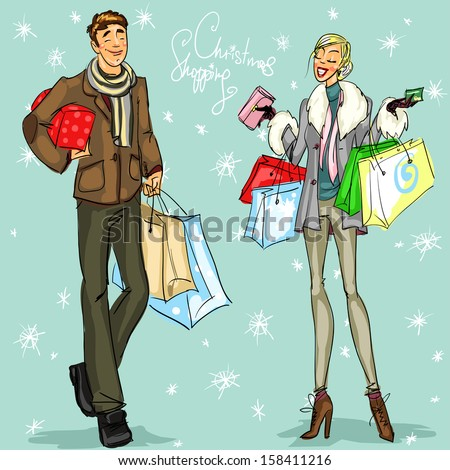 Happy couple with shopping bags and present boxes, Christmas shopping vector illustration. - stock vector