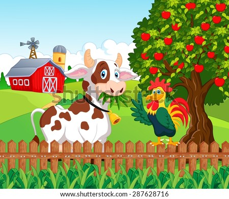 Happy cow and chicken in the farm - stock vector