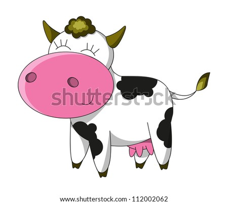 Happy cow cartoon character isolated
