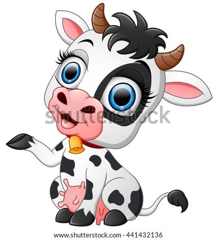Happy cow cartoon presenting
