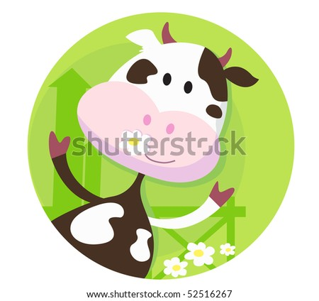 Happy cow character  - farm animal. Vector illustration of happy cow. - stock vector