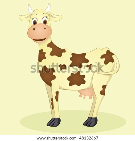 Happy cow illustration - stock vector