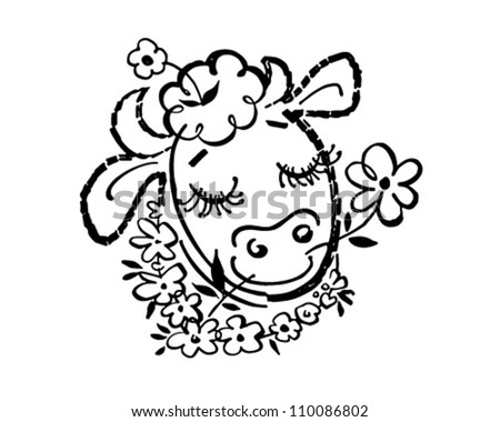 Happy Cow - Retro Clipart Illustration - stock vector