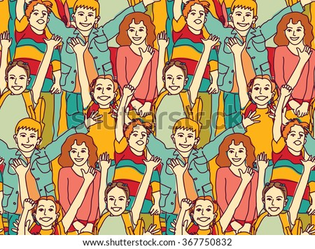 Happy crowd children color seamless pattern. Color vector illustration. EPS8 - stock vector
