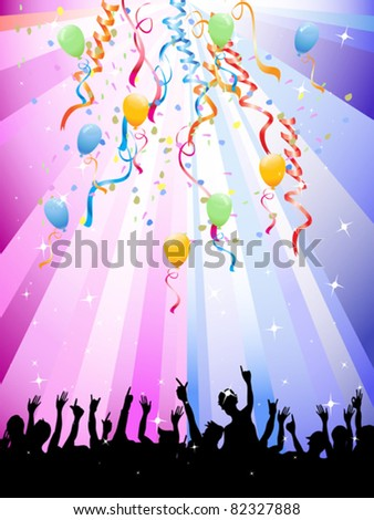 Happy crowd of people at a festival - stock vector