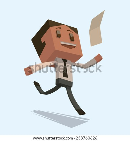 Happy Cube businessman with a letter, vector - stock vector
