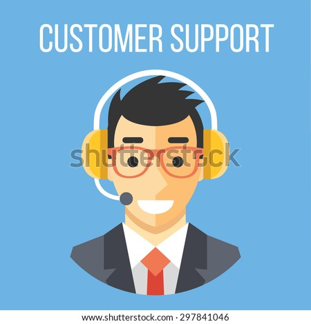 Happy customer support manager with headphones. Blue background. Flat design concept vector illustration - stock vector