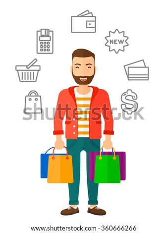 Happy customer with bags. - stock vector