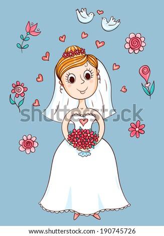 Happy cute bride. Sketching cartoon vector illustration.  - stock vector