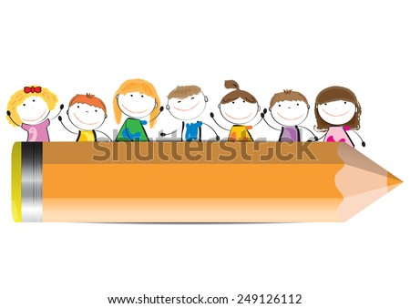 Happy Cute Cartoon Kids With Crayon As A Banner