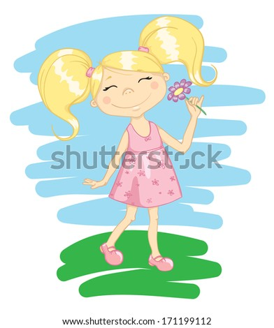Happy cute girl with flower - stock vector