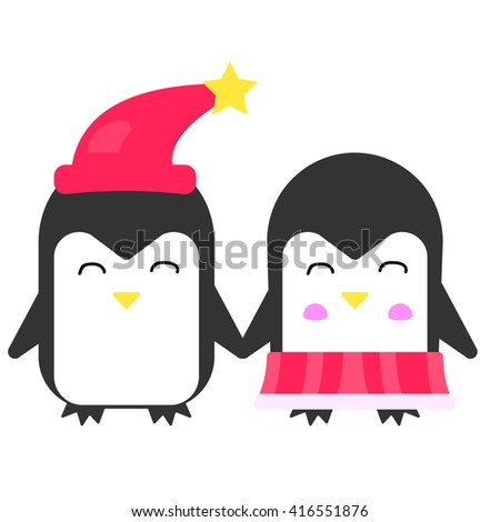 Happy cute penguin hold hands. Vector flat illustration. - stock vector